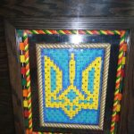 I myself painted the carved wooden tryzub at the corner of the bar.
